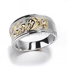 engraved rings gold images Engraved mens wedding rings gold plated silver unique mens jpg