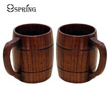 cool cups 2 pieces wood beer cups natural wooden mug set 360ml vintage style