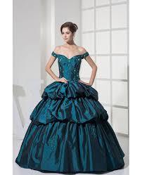 off the shoulder ink blue lace taffeta ballgown color wedding