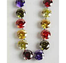 multi colored stones necklace images Lyst bottega veneta multi color faceted cz stone necklace in red jpeg