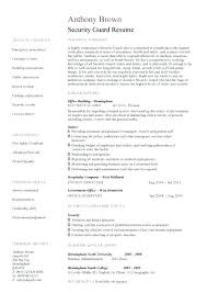 sample resume of security guard sample resume objectives security