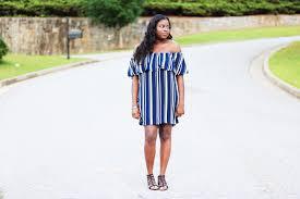 off shoulder navy white striped dress forever 21