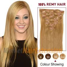 16 inch hair extensions 16 golden 16 7pcs clip in indian remy hair extensions