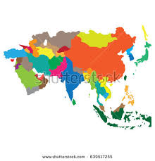 asia map and countries map countries asia stock vector 639517255