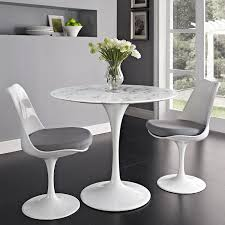 White Marble Dining Tables Modway Lippa 36 Artificial Marble Dining Table In