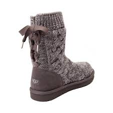 fashionable ugg isla knit boot charcoal womens shoes sale