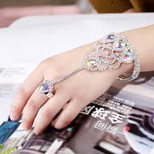 crystal chain rings images Trendy crystal chain rings bracelet bangles with ring for party jpg