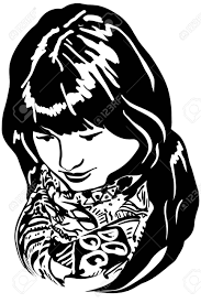 black and white vector sketch of a beautiful put her head