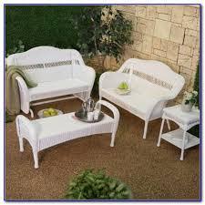 White Resin Wicker Loveseat White Resin Wicker Patio Furniture Canada Patios Home Design