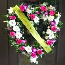 funeral ribbon funeral heart with ribbon w flowers ottawa