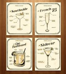 old fashioned cocktail illustration exclusive prohibition era cocktail prints u2013 set of 4 french 75