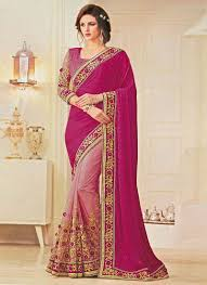 and baby pink color designer half n half saree