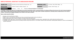 Personal Assistant Sample Resume by Personal Assistant To Ambassador Cover Letter U0026 Resume