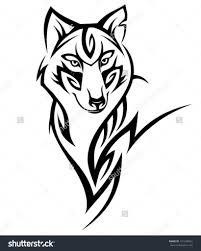 small wolf designs tribal wolf design stock vector