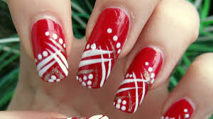 easy red gold and white abstract design nail art tutorial