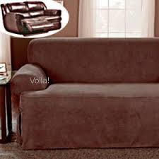 Slipcovers For Reclining Sofa And Loveseat Reclining Loveseat Slipcover T Cushion Ribbed Texture Chocolate