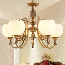 Dining Room Chandeliers With Shades by Chic 5 Light Glass Shade Copper Dining Room Chandelier
