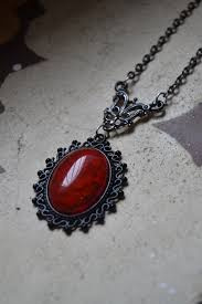 red gothic necklace images Bloody red stone necklace fiery red necklace black and red jpg