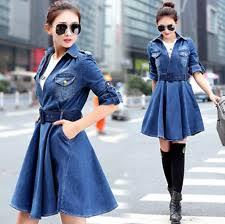 unbranded denim knee length 3 4 sleeve dresses for women ebay