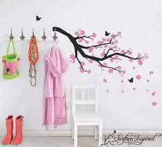 Cherry Blossom Wall Decal For Nursery Wall Decals Blowing Pink Cherry Blossom Branch Wall Decal