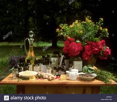 natural cosmetics medicinal plants u0026 flowers on table stock photo