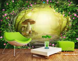 wallpaper 3d mushroom custom 3d wallpaper kids children cartoon fog tree mural fairy tale