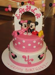birthday cakes appealing pink and white minnie mouse cake