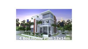 Homeplan Com by Sketchup Home Plan 12x14m 3 Story House With 4 Bedrooms Sam