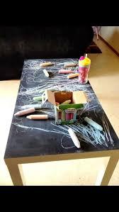 jeux ole de cuisine de idée salle de jeux table ikea recouverte de peinture à tableau