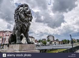 statue lions lion statue on a cloudy day at lion s bridge in sofia bulgaria