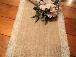 Burlap And Lace Table Runner Shower Decorations Vintage Wedding