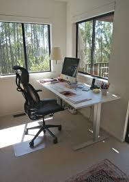 Office Chair For Standing Desk Rectangle White Wooden Standing Desk Combined By Black Office