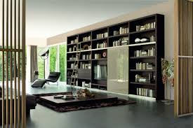 furniture large room fit to bookshelf wall with lazy chair side