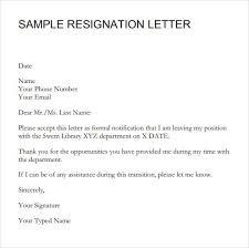 9 resignation letter sle sle letters word