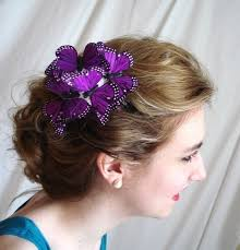 butterfly for hair purple butterflies hair comb cast shadows whimsical bridal