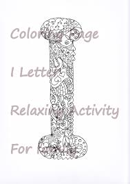 letter i colouring page zentangle art inspired adults anti