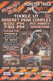 monster truck show houston tx monster truck insanity tour in tooele presented by live a little