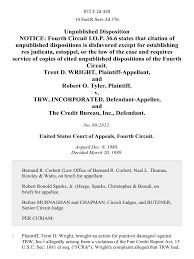 trw credit bureau trent d wright and robert o v trw incorporated and the