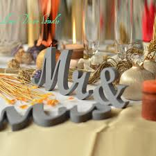 mr mrs wedding table decorations painted in gray mr mrs elegant script letters wedding table