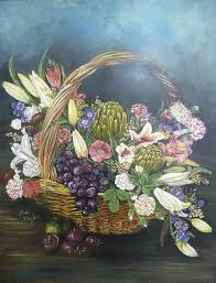 fruit flower basket flower basket with fruit painting by sue