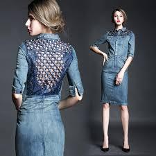 women denim one piece dress brand designer dress blue dresses