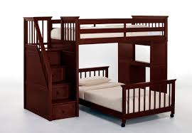 dark brown wooden bunk beds with stairs and desk with white mattress jpg