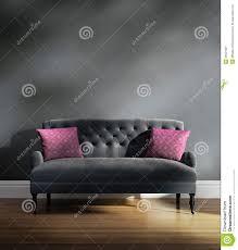 Cushions Velvet Contemporary Elegant Luxury Grey Velvet Sofa With Pink Cushions