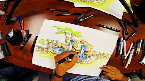 Pictures Of Backyard Waterfalls by Landscape Backyard Waterfall Drawing Youtube