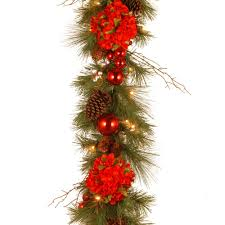 decorative collection 9 ft hydrangea garland with battery