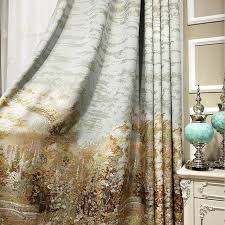 custom made kitchen curtains oil painting design jacquard curtains custom made luxury kitchen