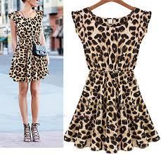 cheetah leopard print skater swing pleated ruffle sleeveless mini