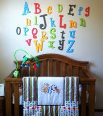 Abc Nursery Decor Painted Wooden Alphabet Set Mixed Wood Wall Letters Abc Wall
