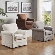 Swivel Rocking Chairs For Living Room Fallon Rolled Arm Cotton Fabric Swivel Rocking Chair By Tribecca