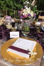 eggplant colored table linens eggplant and chagne wedding décor at the barceló hyatt ziva los